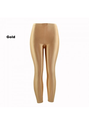 Gold 80s Shiny Neon Costume Leggings Stretch Fluro Metallic Pants Gym Yoga Dance