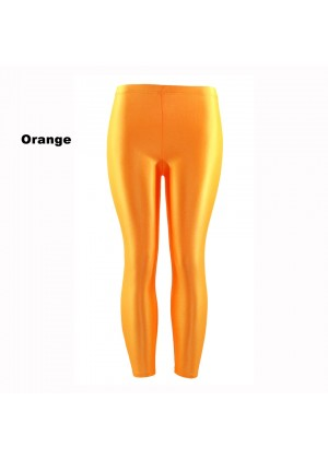 Orange 80s Shiny Neon Costume Leggings Stretch Fluro Metallic Pants Gym Yoga Dance