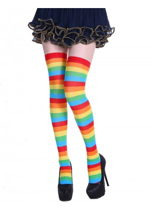 Ladies Rainbow Christmas Thigh Highs