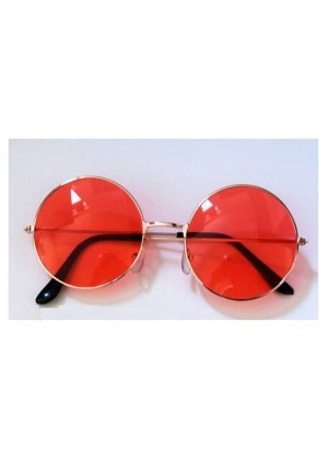 Watermelon Red Glasses 1980s Round Frame