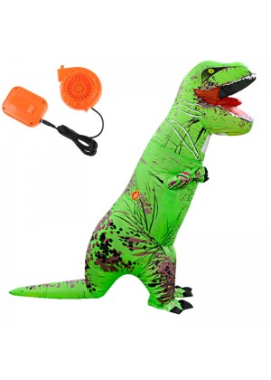 Green ADULT T-REX INFLATABLE Costume Jurassic Blowup Dinosaur TRex T Rex
