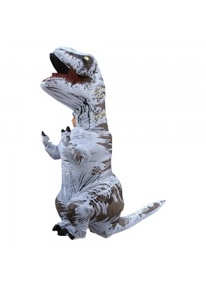 White Kids T-Rex Blow up Dinosaur Inflatable Costume -1