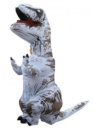 White Kids T-Rex Blow up Dinosaur Inflatable Costume -2