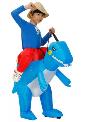 Kids blue Dinosaur t-rex Blow Up inflatable costume side view  tt2022-2