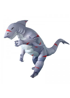 Adult Grey shark carry me inflatable costume