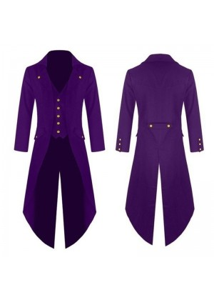 Purple Mens Steampunk Coat Ringmaster Costume