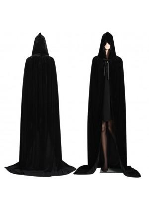 Black Kids Hooded Velvet Cloak Cape Wizard Costume