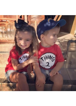Childrens Dr Seuss Cat In The Hat Thing One 1 And Thing Two 2 Twins Top T-Shirt Book Week Costume
