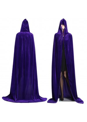 Purple Adult Hooded Velvet Cloak Cape Wizard Costume