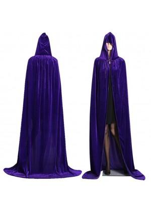 Purple Kids Hooded Velvet Cloak Cape Wizard Costume
