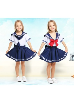 Kids Sea Sweetie Girls Navy Sailor Uniform Rockabilly Costume Dress