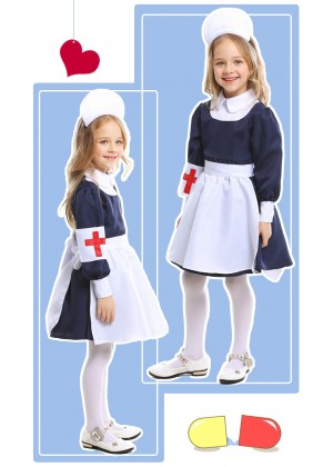 Kids Girls Victorian Maid Nurse Occupation Uniform Hospital Vet Costume
