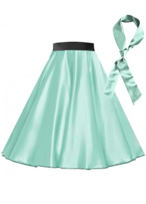 Light Blue Satin 1950's 50s skirt