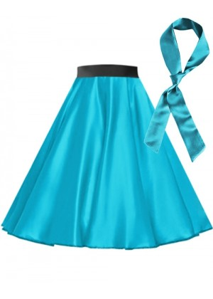 Aqua Blue Satin 1950's skirt