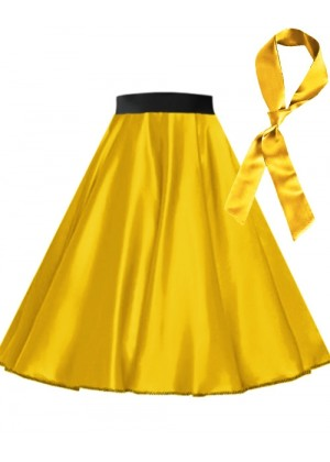 Yellow Satin 1950's 50s skirt