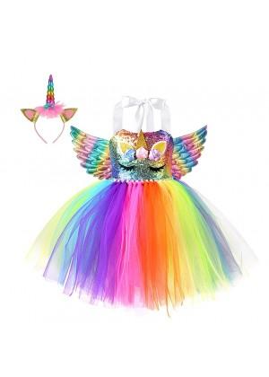 Girls Rainbow Unicorn Tulle Tutu Dress tt3158