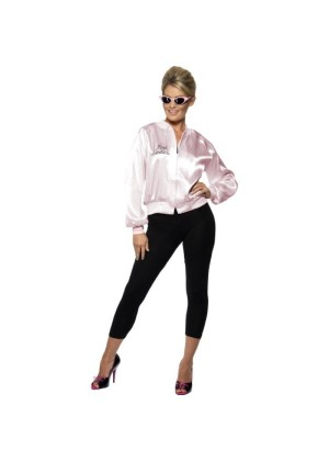Ladies 50's 1950's Grease Pink Lady Satin Jacket Costume 28385_2