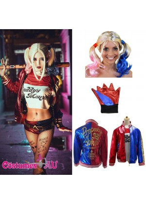 Harley Quinn Harlequin Suicide Squad Full Costume Set Plus Wigs and Gloves