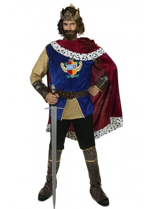 Medieval Costumes - Adult Mens Noble King Medieval Halloween Fancy Dress Costume Outfits