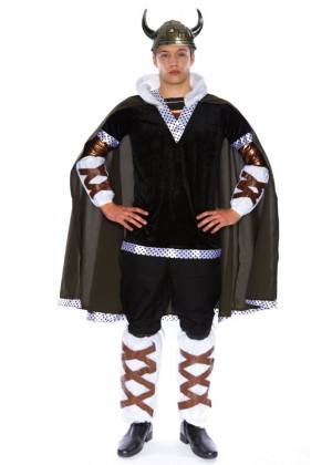 Viking Costumes - Mens Viking King Battle Warrior Mens Adult Fancy Dress Halloween Costume
