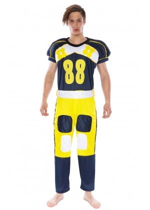 Football Player Costumes - Mens American Football Player Fancy Dress Costume Jumpsuit Outfit