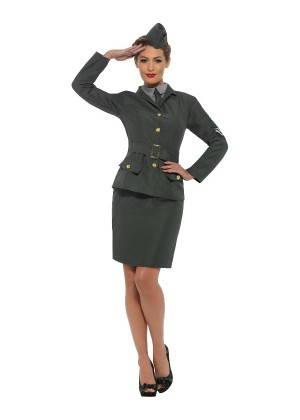 WW2 Army Girl Military Costume cs47383