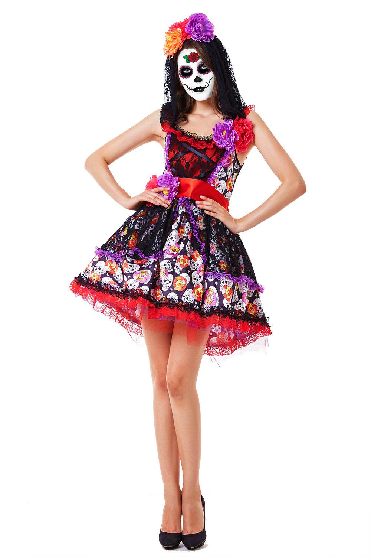 Ladies Day of The Dead Senorita Costume Fancy Dress Halloween Sugar Skull New