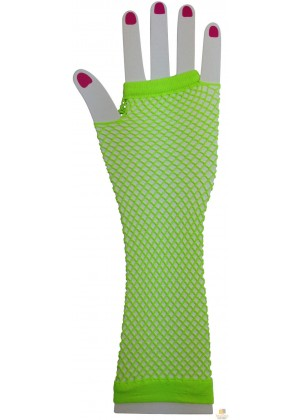 Green Fishnet Gloves Fingerless Elbow Length 70s 80s Women's Neon Party Dance