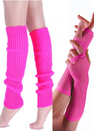 Coobey 80s Neon  Fishnet Gloves  Leg Warmers accessory set Pink