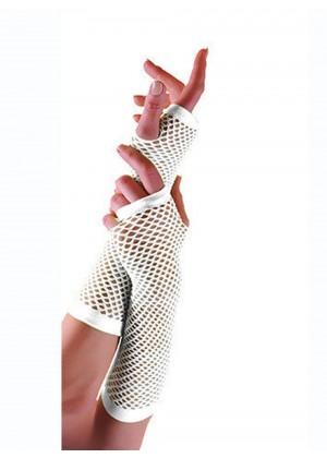 White Fishnet Gloves Fingerless Elbow Length 70s 80s Women's Neon Party Dance