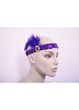 purple 1920s Headband Feather Vintage Bridal Great Gatsby Flapper Headpiece gangster ladies
