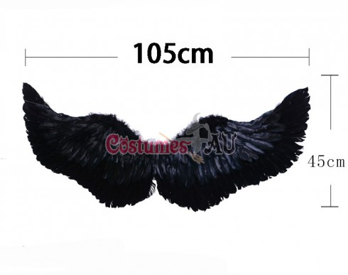 105cm X 45cm Feather Wings Black Angel Fairy Adults Costume Outfit Party Cosplay