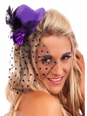Burlesque Fascinator Mini Hat With Feather