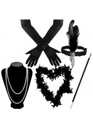 Black 1920s Charleston Ladies 20s Gatsby Burlesque Flapper Fancy Dress Costume Accessory Set