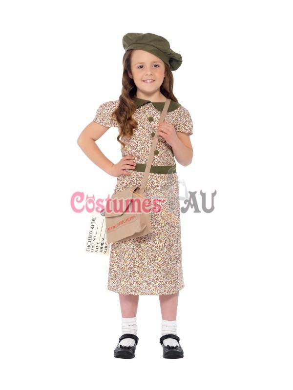 Girls War Time 40s WW2 Evacuee School Girl Fancy Dress Costume World Book Week