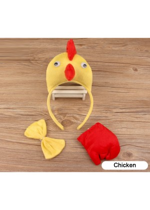 Chicken Headband Bow Tail Set Kids Animal Farm Zoo Party Performance Headpiece Fancy Dress Costume Kit Accessory