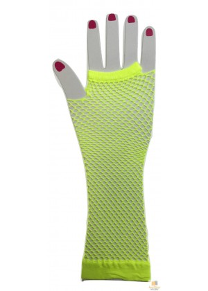 Yellow Fishnet Gloves Fingerless Elbow Length 70s 80s Women's Neon Party Dance