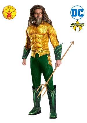 Mens Deluxe Aquaman DC Comic Hero TV Book Film Movie Fancy Dress Costume Outfit