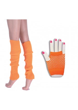 Coobey 80s Neon  Fishnet Gloves  Leg Warmers accessory set Orange