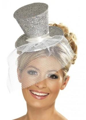 SILVER Fever Mini Top Hat on Clip Ladies Mini Glitter Top Hat