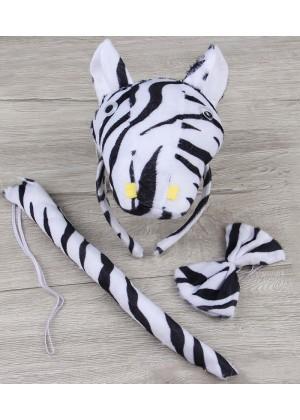 Zebra Headband Bow Tail Set Kids Animal Farm Zoo Party Performance Headpiece Fancy Dress Costume Kit Accessory