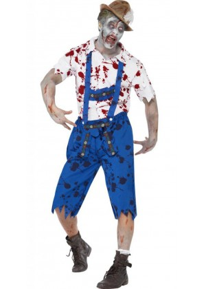 Zombie Costumes - Zombie Bavarian Male Costume Lederhosen Shorts with Braces Halloween Fancy Dress Outfit German Oktoberfest Adult