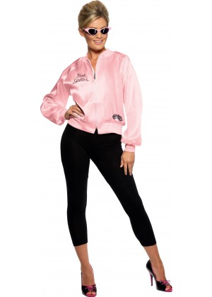 Ladies 50's 1950's Grease Pink Lady Satin Jacket Costume 50s Embroidery Letter