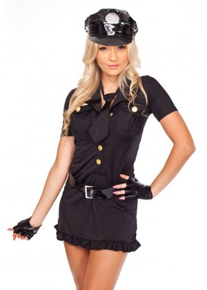 Cops & Robbers Costumes �?Ladies Woman Black Cop Police Uniform Party Fancy Dress Costume Outfit