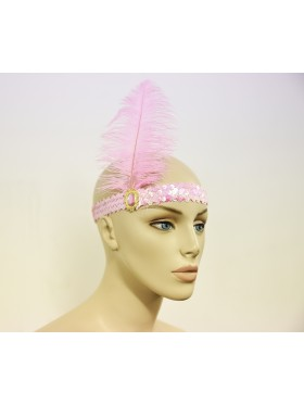 Pink 1920s Headband Feather Vintage Bridal Great Gatsby Flapper Headpiece gangster ladies