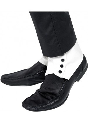 WHITE Mens 1920s 20s SPATS with Black Buttons Fancy Dress Accessories