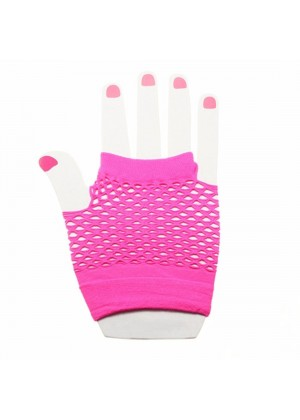 Pink Fishnet Gloves Fingerless Wrist Length 70s 80s Women's Neon Party Dance