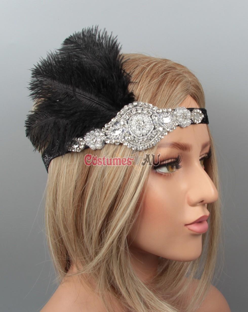 1920s headband feather vintage bridal great gatsby flapper. Black Bedroom Furniture Sets. Home Design Ideas