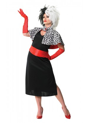 Womens Evil Madame Cruella De Ville 101 Dalmations Fancy Dress Costume �_Cigarette Holder + Wigs