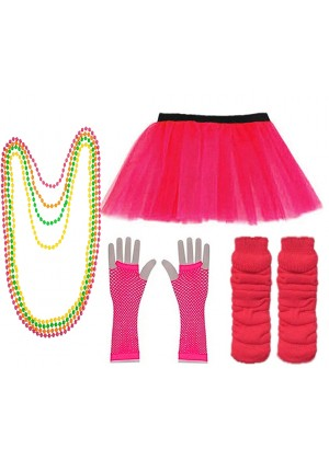 Dark Pink Coobey Ladies 80s Tutu Skirt Fishnet Gloves Leg Warmers Necklace Dancing Costume Accessory Set